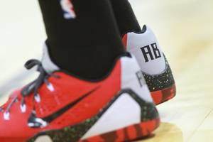 Cleveland Cavaliers forward Anthony Bennett wears custom shoes during the Cavaliers NBA Summer League game against the Milwaukee Bucks Friday, July 11, 2014 at the Cox Pavilion.