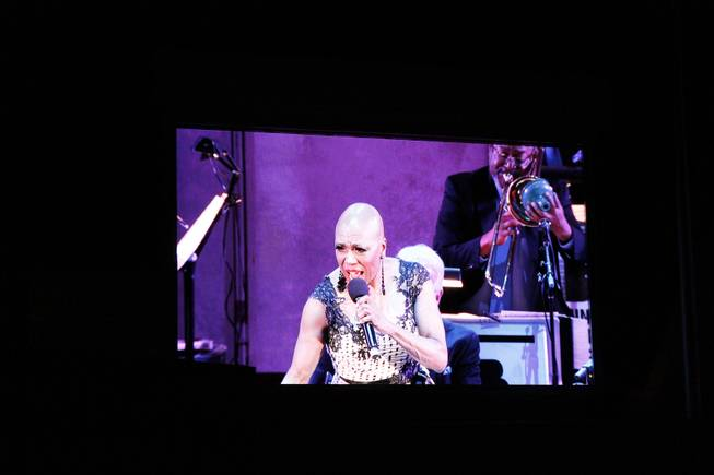 "Dee Dee Bridgewater takes center stage in ""To Ella With Love"" at the Hollywood Bowl on Wednesday, July 9, 2014, in Los Angeles."