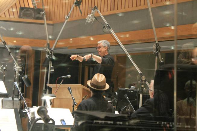 "Grammy Award winner Gregg Field directs Clint Holmes and members of the Count Basie Orchestra in recording an upcoming album in Studio A, aka the ""Grammy Studio,"" at Capitol Records on Thursday, July 10, 2014, in Los Angeles."