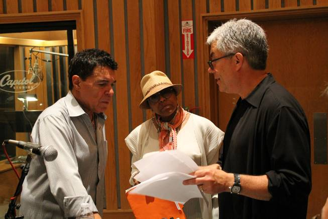 "Clint Holmes, Dee Dee Bridgewater and Gregg Field discuss plans for an upcoming album in Studio A, aka the ""Grammy Studio,"" at Capitol Records on Thursday, July 10, 2014, in Los Angeles."