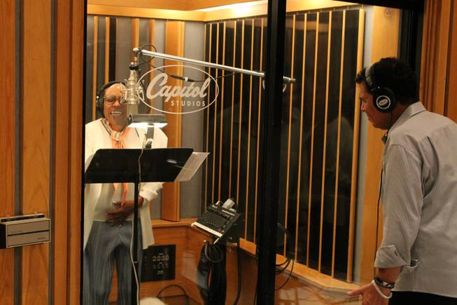 "Dee Dee Bridgewater and Clint Holmes record an upcoming album in Studio A, aka the ""Grammy Studio,"" at Capitol Records on Thursday, July 10, 2014, in Los Angeles."
