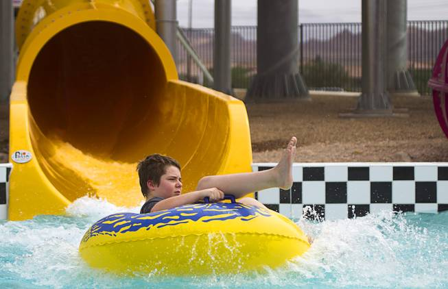 Gunner Gatlin, 13, comes out from a ride at the Cowbunga Bay water park in Henderson Monday, July 14, 2014. The new water park opened on July 4. STEVE MARCUS