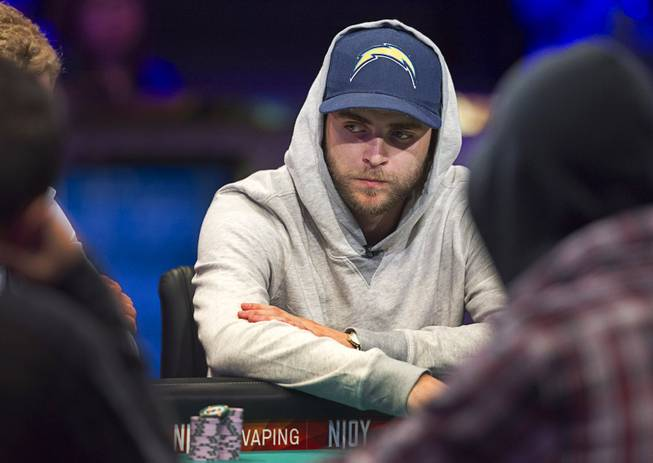 Felix Stephensen competes during the World Series of Poker $10,000 buy-in No-limit Texas Hold 'em main event at the Rio Monday, July 14, 2014. Stephensen made it to the final table.