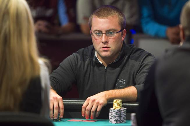 William Tonking of Flemington, N.J. competes during the World Series of Poker $10,000 buy-in No-limit Texas Hold 'em main event at the Rio Monday, July 14, 2014. Tonking made it to the final table.