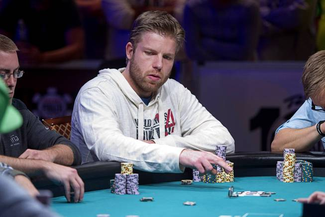 Jorryt van Hoof of the Netherlands competes during the World Series of Poker $10,000 buy-in No-limit Texas Hold 'em main event at the Rio Monday, July 14, 2014. Van Hoof made it to the final table.