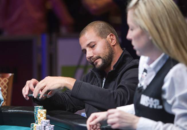 Dan Sindelar competes during the World Series of Poker $10,000 buy-in No-limit Texas Hold 'em main event at the Rio Monday, July 14, 2014. Sindelar made it to the final table.