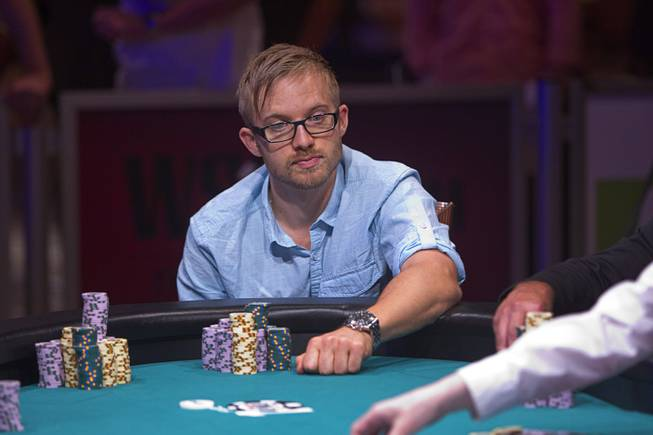 Martin Jacobson of Sweden competes during the World Series of Poker $10,000 buy-in No-limit Texas Hold 'em main event at the Rio Monday, July 14, 2014. Jacobson made it to the final table.