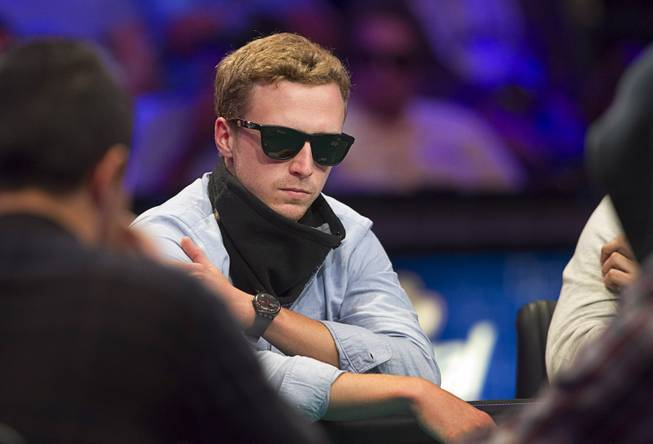 Maximilian Senft of Austria competes during the World Series of Poker $10,000 buy-in No-limit Texas Hold 'em main event at the Rio Monday, July 14, 2014. Senft finished 11th.