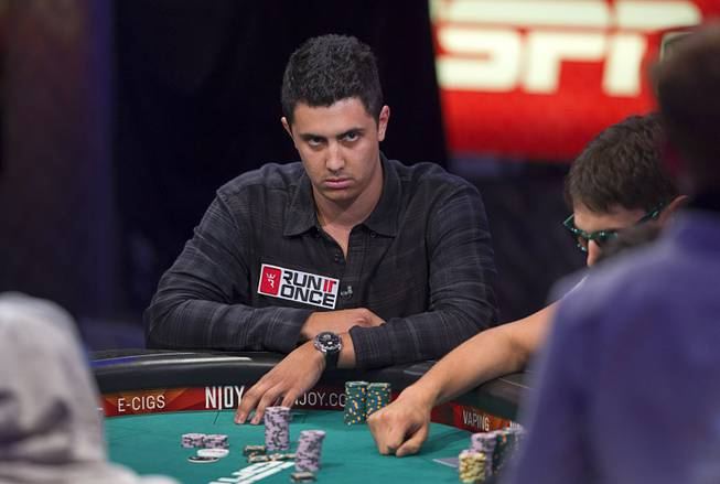 Craig McCorkell of Britain competes during the World Series of Poker $10,000 buy-in No-limit Texas Hold 'em main event at the Rio Monday, July 14, 2014. McCorkell finished in 13th place.