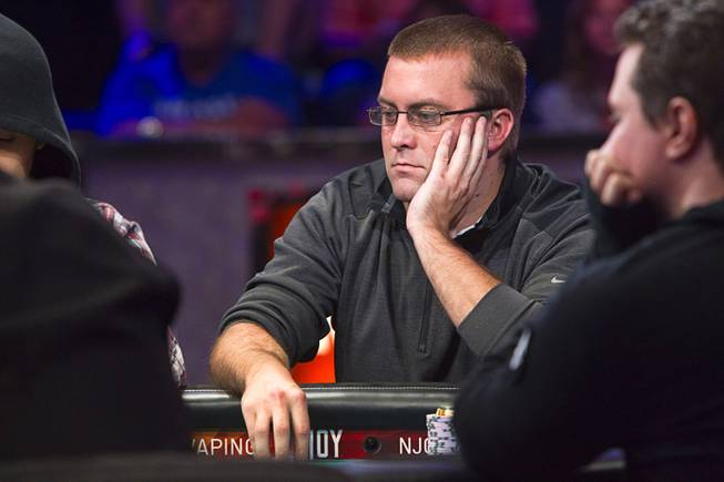 William Tonking of Flemington, N.J. competes during the World Series of Poker $10,000 buy-in No-limit Texas Hold 'em main event at the Rio, July 14, 2014. Tonking made it to the final table.