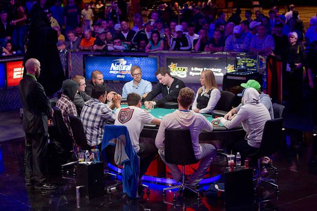 Ten players compete for a place at the final table during the World Series of Poker $10,000 buy-in No-limit Texas Hold 'em main event at the Rio Monday, July 14, 2014.