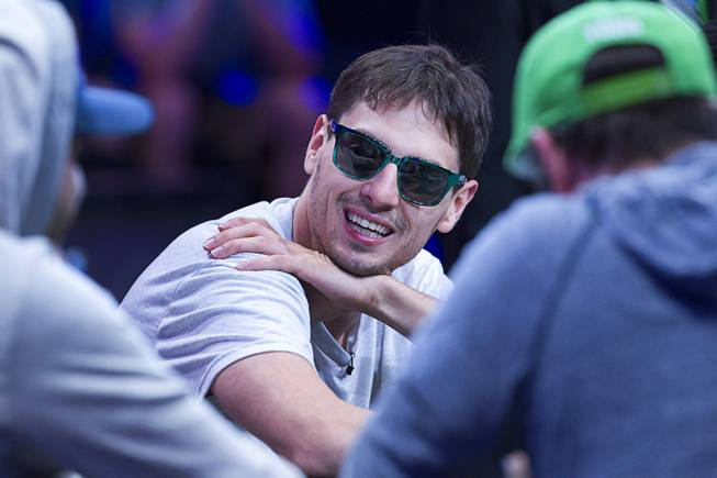 Mark Newhouse, the ninth-place finisher in 2013, competes during the World Series of Poker $10,000 buy-in No-limit Texas Hold 'em main event at the Rio, July 14, 2014. Newhouse, originally from Chapel Hill, N.C., made it to the final table.