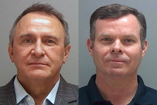 This combination of Tuesday, July 15, 2014 photos provided by the Salt Lake County Sheriff shows former Utah attorneys general Mark Shurtleff, left, and John Swallow who were taken into custody Tuesday as part of a bribery investigation. The arrests come just over a year after two county attorneys began scrutinizing Shurtleff and Swallow's relationships with several businessmen in trouble with regulators.
