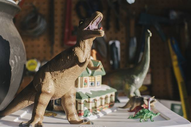 A collection of toy dinosaurs on display at Shang-Gri La Prehistoric Park in Las Vegas, Nev on July 12, 2014.
