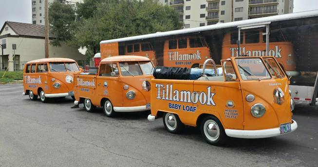 In this undated photo provided by the Manteca Police Department are three Tillamook Cheese vans that were stolen Saturday, July 12, 2014.