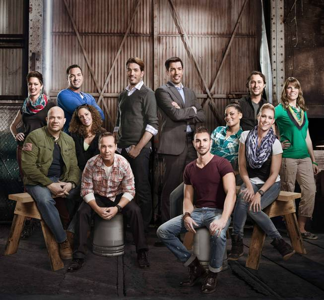 "Las Vegas interior designer Melissa Roche, second from right with the scarf, competes in Season 2 of ""Brother vs. Brother"" on HGTV."
