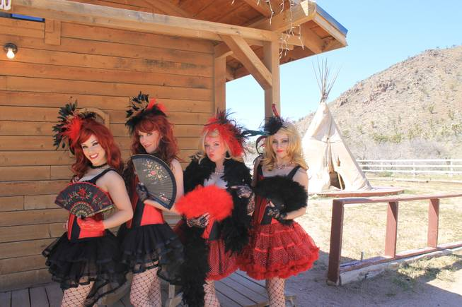 "A lineup of showgirls, from left, Leah Christiana Gonzalez, Alexa Hukari, Katerina Matvienko and Marta Szczerba, during the video shoot for Melody Sweets' ""Shoot 'em Up"" at Grand Canyon Ranch on April 22, 2014."