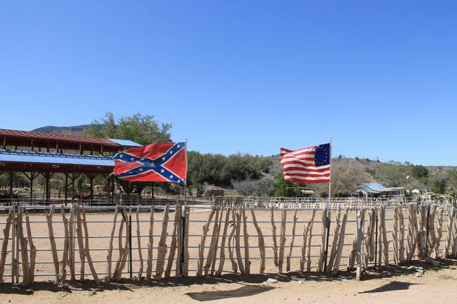 "Flags of a bygone era fly during the video shoot for Melody Sweets' ""Shoot 'em Up"" at Grand Canyon Ranch on April 22, 2014."