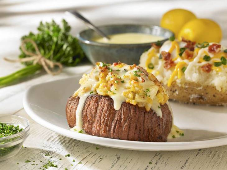 Crab-topped sirloin at Outback Steakhouse.