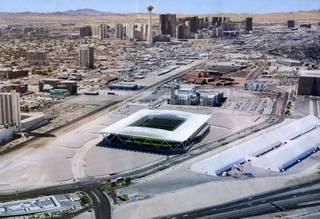 Rendering of the proposed MLS stadium in downtown Las Vegas.
