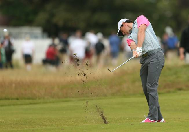 Rory McIlroy of Northern Ireland plays from the 1st fairway during the final round of the British Open Golf championship at the Royal Liverpool golf club, Hoylake, England, Sunday July 20, 2014.