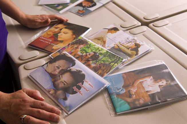 "Greeting cards are displayed at the Teazled offices Monday, July 21, 2014. Teazled is a company that makes ""traditional greeting cards for nontraditional familes."""
