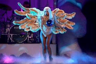"Lady Gaga performs during her ""ArtRave: The ArtPop Ball"" tour stop at United Center on Friday, July 11, 2014, in Chicago."