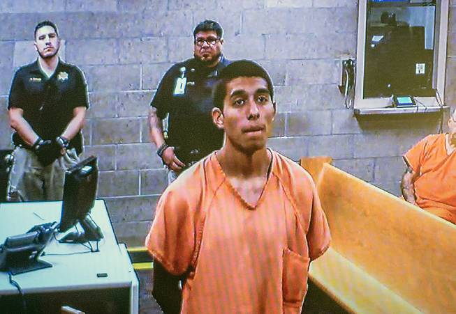 Alex Rios,18, makes an appearance on video for an arraignment in metro court Monday, July 21, 2014 for participating in the beating of two homeless men on the westside in Albuquerque, New Mexico over the weekend.