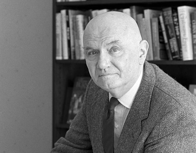 "Thomas Berger at the offices of publisher Little, Brown & Company in New York on March 25, 1987. Berger, the reclusive and bitingly satirical novelist who explored the myths of the American West in ""Little Big Man"" and the mores of 20th century middle-class society in a shelf of other well-received books, died July 13, 2014. He was 89."