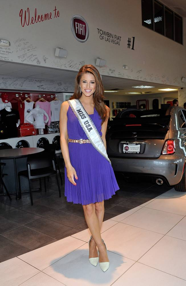Miss USA 2014 Nia Sanchez appears at an official Miss Nevada USA recruitment event at Towbin Fiat of Las Vegas on July 19, 2014 in Las Vegas, Nevada.