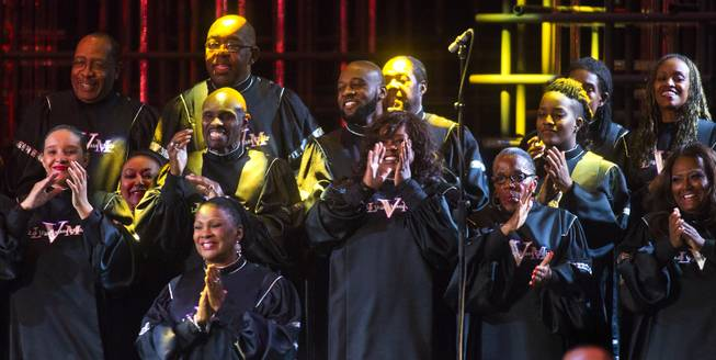 "Members of the Las Vegas Mass Choir perform for the crowd during The Venetian Las Vegas announcement event for the engagement of ""Georgia On My Mind: The Music of Ray Charles"" on Tuesday, July 22, 2014."