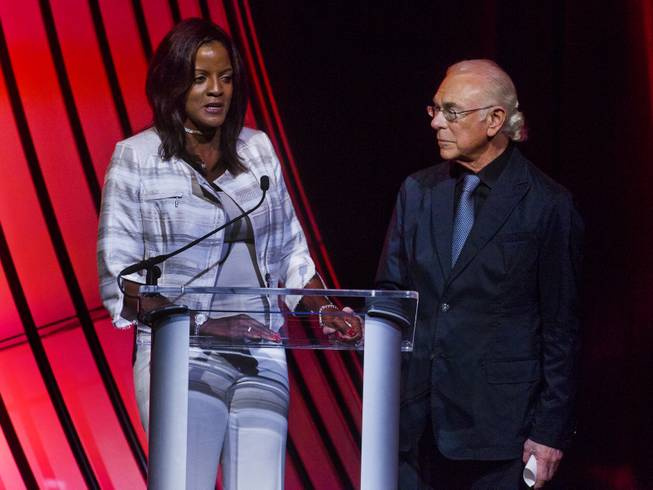 "The Ray Charles Foundation president Valerie Ervin joins producer Larry Rosen on stage for a few words during the announcement event for the engagement of ""Georgia On My Mind: The Music of Ray Charles"" at The Venetian Las Vegas  on Tuesday, July 22, 2014."