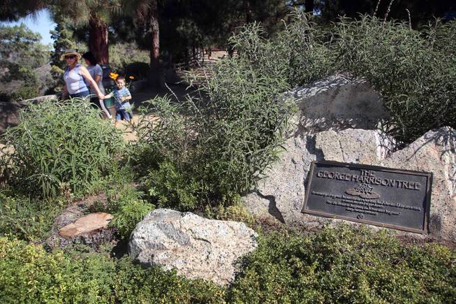 Visitors walk past a plaque marking the George Harrison Tree in Griffith Park on Tuesday, July 22, 2014, in Los Angeles.