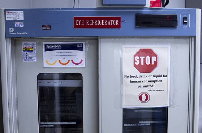 An eye refrigerator is shown at the Nevada Donor Network Tuesday, July 22, 2014.