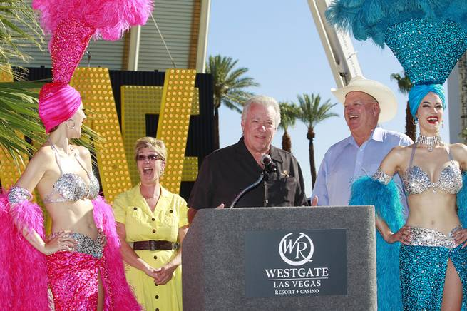 Westgate Resorts founder David Siegel is joined by Clark County Commissioners Chris Giunchigliani and Tom Collins at the unveiling of the sign for the former LVH on Wednesday, July 22, 2014.
