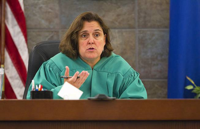 "Judge Kathleen Delaney presides over sentencing for Jason Griffith at the Regional Justice Center Wednesday, July 23, 2014. The former Las Vegas Strip performer was found guilty of second-degree murder in the 2010 death and dismemberment of his ex-girlfriend Deborah Flores Narvaez, a dancer in Luxor's topless ""Fantasy"" revue."