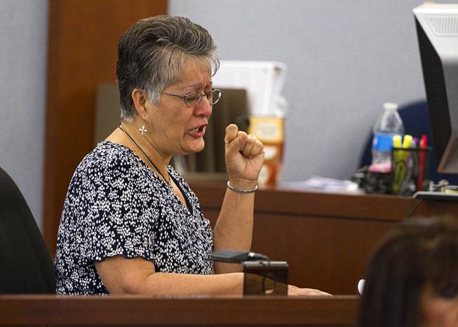 "Elsie Narvaez, mother of Deborah Flores Narvaez, asks for the maximum penalty during sentencing for Jason Griffith at the Regional Justice Center Wednesday, July 23, 2014. The former Las Vegas Strip performer was found guilty of second-degree murder in the 2010 death and dismemberment of his ex-girlfriend Deborah Flores Narvaez, a dancer in Luxor's topless ""Fantasy"" revue."