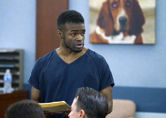"Jason Griffith speaks to his mother (not pictured) before his sentencing at the Regional Justice Center Wednesday, July 23, 2014. The former Las Vegas Strip performer was found guilty of second-degree murder in the 2010 death and dismemberment of his ex-girlfriend Deborah Flores Narvaez, a dancer in Luxor's topless ""Fantasy"" revue."