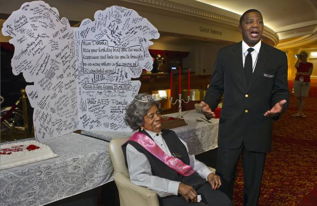 Colosseum usher Dorothy Brooks turns 90 today and is given kind words by asst. security manager Zach Scott during a birthday party for her before the Shania show at Caesars Palace on Wednesday, July 23, 2014.