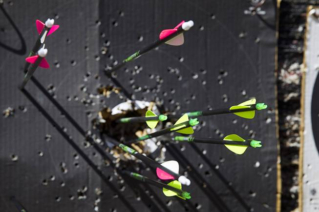 Arrows are shown in a target at the Las Vegas Archers Spring Mountain Range near Mountain Springs Sunday, July 20, 2014.