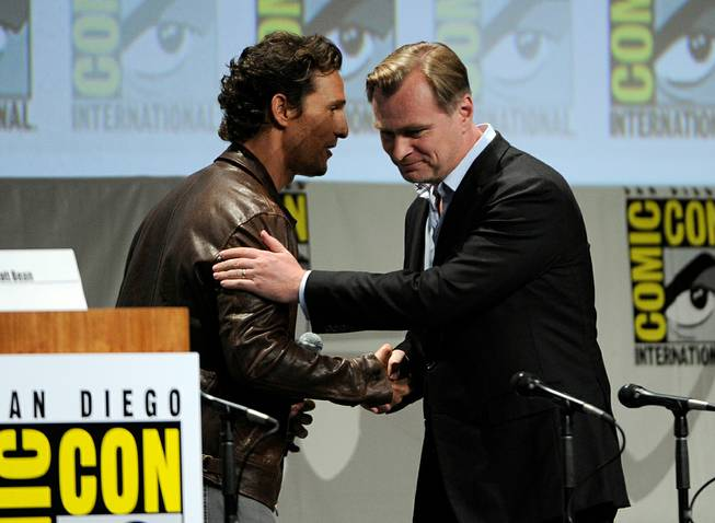 "Matthew McConaughey, left, and director Christopher Nolan attend the ""Paramount Pictures"" panel on Day 1 of Comic-Con International on Thursday, July 24, 2014, in San Diego."