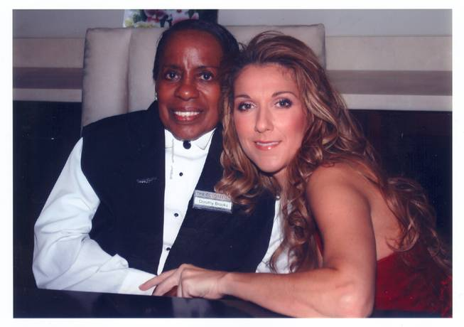 Dorothy Brooks, shown in 2004 with Celine Dion during Brooks' 80th birthday party, celebrated her 90th birthday party at the Colosseum at Caesars Palace on Wednesday, July 23, 2014.