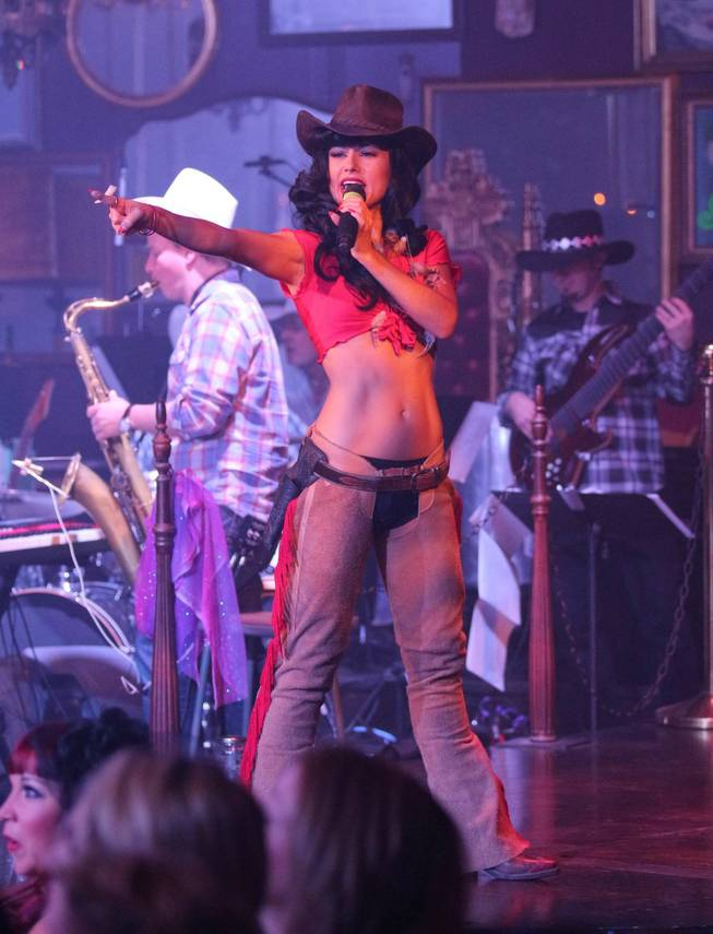 "Melody Sweets hearkens to the Wild West at the video-release party for the music video ""Shoot 'em Up"" at the ""Absinthe"" tent at Caesars Palace on Tuesday, July 22, 2014."