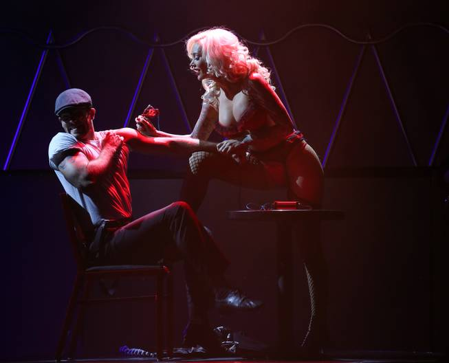 "Sabina Kelley performs with Ryan Kelsey during her run as a guest star for Claire Sinclair in ""Pin Up"" at the Stratosphere on Sunday, July 27, 2014."