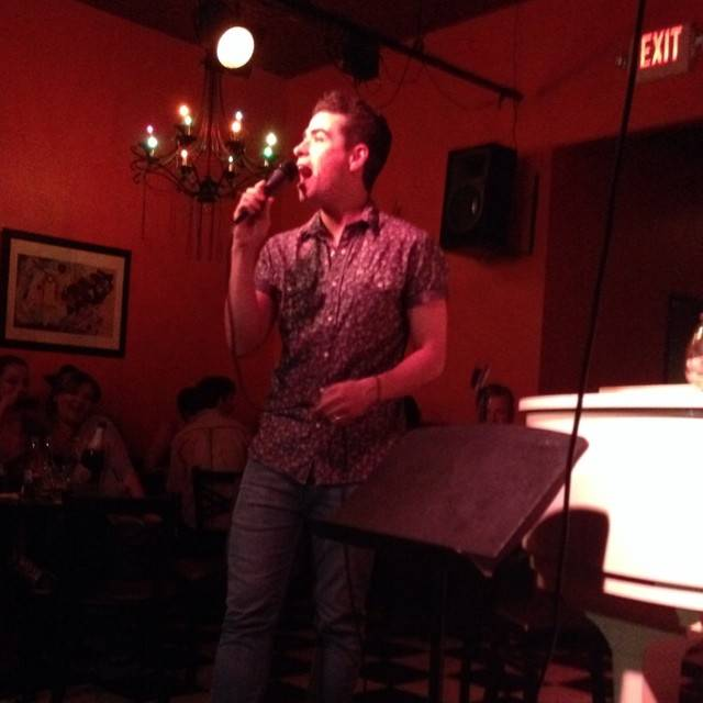 "Graham Fenton of ""Jersey Boys"" takes the stage at Don't Tell Mama to sing ""Can't Take My Eyes Off Of You"" on Saturday, July 26, 2014."