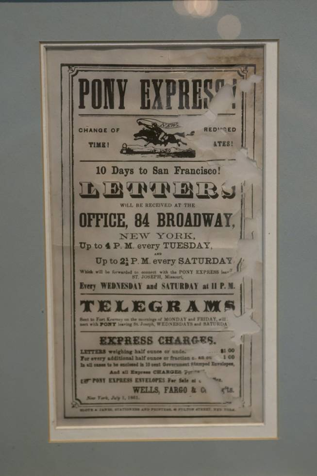 "A Pony Express poster from 1861 is on display at the ""Every Age is an Information Age"" exhibit at the Nevada State Museum, Friday July 25, 2014. The exhibit shows 150 years of communication technology in Nevada."