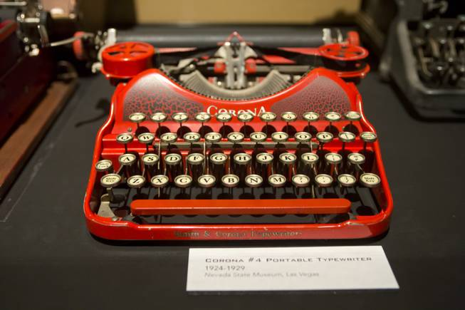 "A Corona portable typewriter from the 1920's is on display at the ""Every Age is an Information Age"" exhibit at the Nevada State Museum, Friday July 25, 2014. The exhibit shows 150 years of communication technology in Nevada."