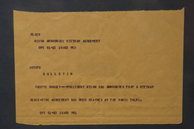 "A Teletype bulletin announcing the Vietnam Cease-Fire is on display at the ""Every Age is an Information Age"" exhibit at the Nevada State Museum, Friday July 25, 2014. The exhibit shows 150 years of communication technology in Nevada."