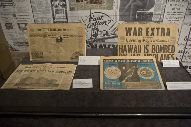 "Various Nevada newspapers are on display at the ""Every Age is an Information Age"" exhibit at the Nevada State Museum, Friday July 25, 2014. The exhibit shows 150 years of communication technology in Nevada."