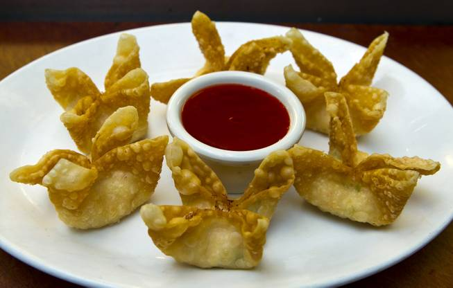 Crab Rangoon dish by Chef Ivo Karkaliev now cooking Chinese food for the Cafe Fiesta at Fiesta Henderson on Monday, July 28, 2014.